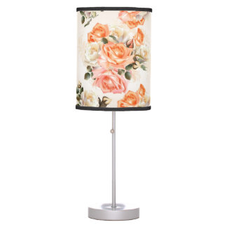 Elegant Vintage beige rose pattern Table Lamp