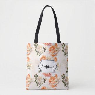 Elegant Vintage beige rose pattern Tote Bag