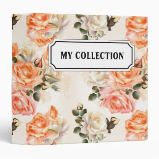 Elegant Vintage beige rose pattern Vinyl Binders