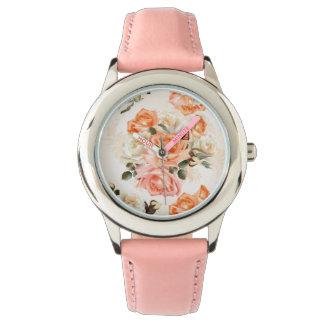Elegant Vintage beige rose pattern Watch
