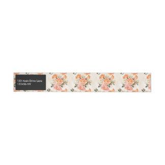 Elegant Vintage beige rose pattern Wraparound Address Label