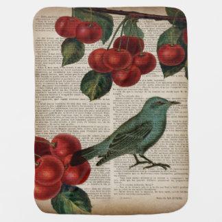 elegant vintage bird botanical art red cherry stroller blanket