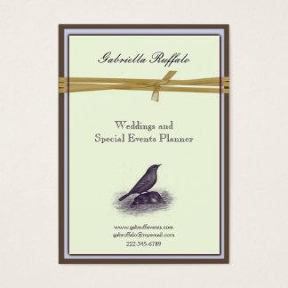 Elegant Vintage Bird Brown Damask and Purple Business Card