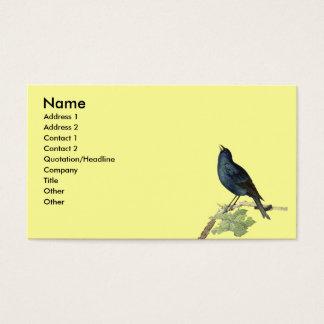 Elegant Vintage Black Bird Yellow Business Card