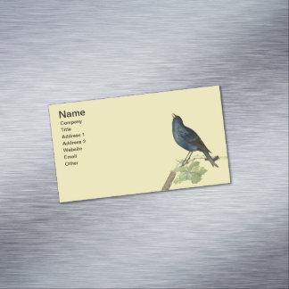 Elegant Vintage Black Bird Yellow Magnetic Business Card