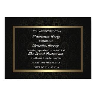 "Elegant Vintage Black & Gold Retirement Party 5"" X 7"" Invitation Card"
