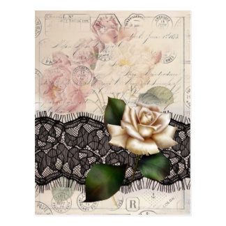 Elegant vintage black lace white rose postcard