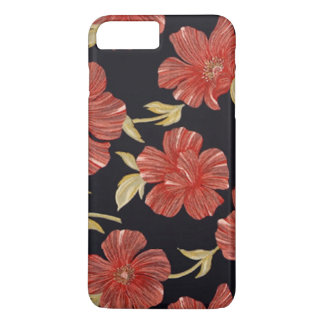 Elegant Vintage Black Red Floral iPhone 8 Plus/7 Plus Case