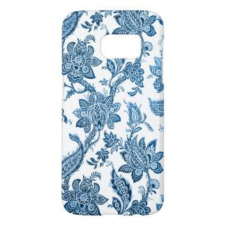 Elegant Vintage Blue and White Floral Wallpaper Samsung Galaxy S7 Case