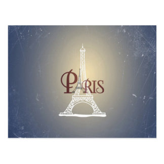Elegant Vintage Blue Eiffel Tower Paris Design Postcard