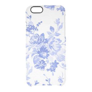 Elegant Vintage Blue Floral Clear iPhone 6/6S Case