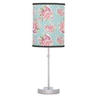 ELEGANT VINTAGE BLUE POKE DOT FLORAL TABLE LAMP