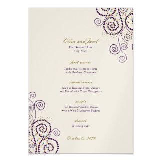 Elegant Vintage Boho Purple Spirals Wedding Menu Card