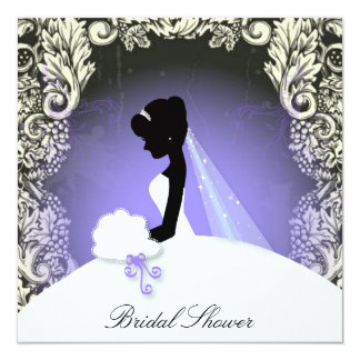 """Elegant Vintage Bridal Shower Purple  Invitation 5.25"""" Square Invitation Card"""