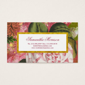 Elegant Vintage Camellia Floral Chic Business Card