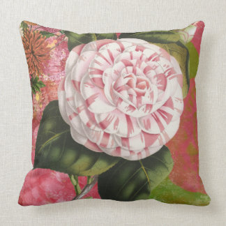 Elegant Vintage Camellia Floral Collage Throw Pillow