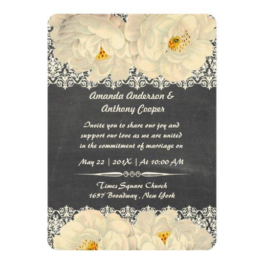 Elegant vintage chalky floral card