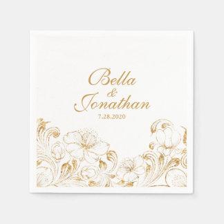 Elegant Vintage Chic Wedding Gold Floral Custom Disposable Napkins