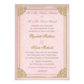Elegant Vintage Cornice Pink Gold Tone Wedding Card
