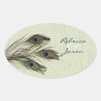 elegant vintage country green peacock wedding oval sticker