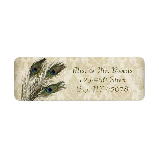 elegant vintage cream damask peacock wedding return address label