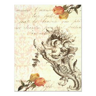 Elegant Vintage Cupid and Damask Baroque Design Card