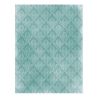 Elegant vintage damask pattern white faded grunge postcard