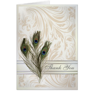 elegant vintage damask peacock wedding thank You Card
