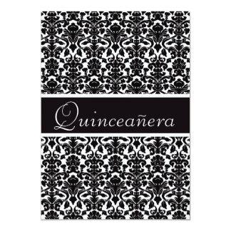 "Elegant Vintage Damask Quinceanera 5"" X 7"" Invitation Card"