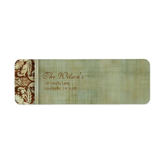 Elegant Vintage Damask Wedding Label Address