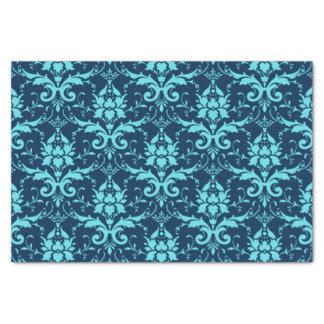 Elegant Vintage Dark Blue Turquoise Damask Pattern Tissue Paper