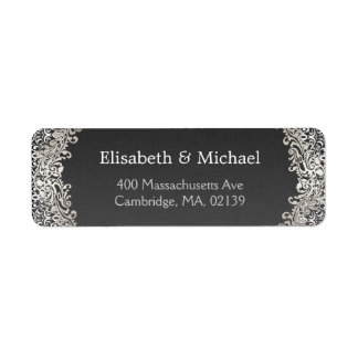 Elegant Vintage Dark Silver Damask Classic Formal Return Address Label