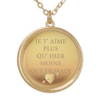 Elegant Vintage declaration of love Paris France Gold Plated Necklace