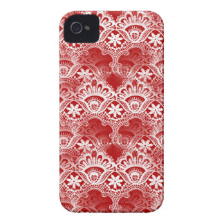 Elegant Vintage Distressed Red White Lace Damask iPhone 4 Covers