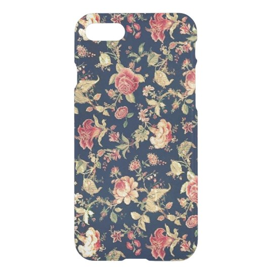 Elegant Vintage Floral Blue Rose iPhone 7 Case