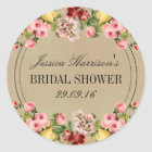 Elegant Vintage Floral Bridal Shower Classic Round Sticker