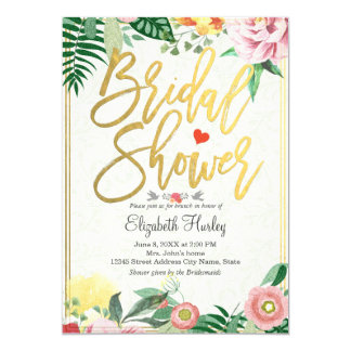 Elegant Vintage Floral Bridal Shower Invitations