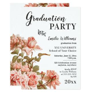 Elegant Vintage Floral College Graduation Party Card