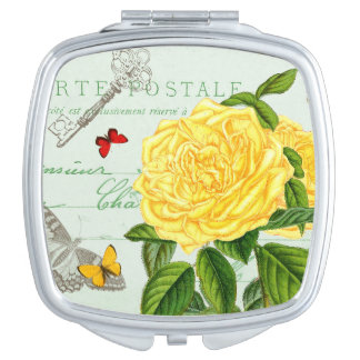Elegant vintage floral compact mirror w/ rose