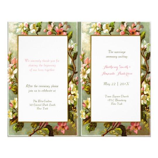 Elegant vintage floral frame wedding program full color flyer