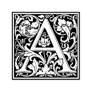 Elegant Vintage Floral Letter A Monogram Self-inking Stamp