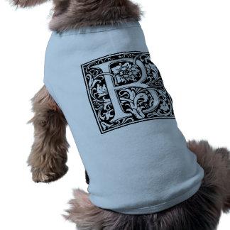 Elegant Vintage Floral Letter B Monogram Dog Tshirt