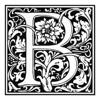 Elegant Vintage Floral Letter B Monogram Magnetic Invitations