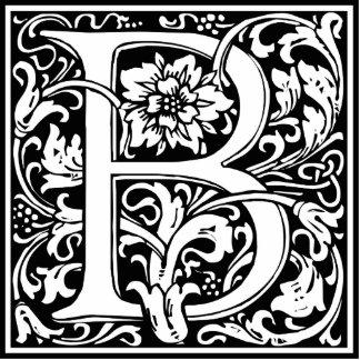 Elegant Vintage Floral Letter B Monogram Photo Sculpture Button