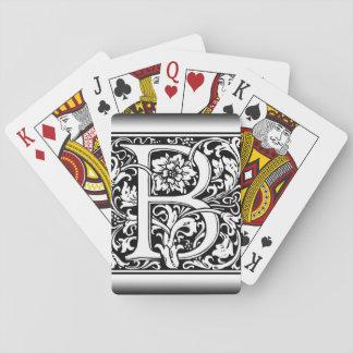 Elegant Vintage Floral Letter B Monogram Poker Deck