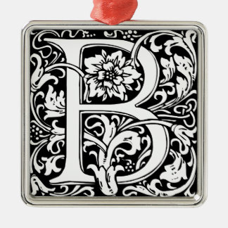 Elegant Vintage Floral Letter B Monogram Silver-Colored Square Ornament