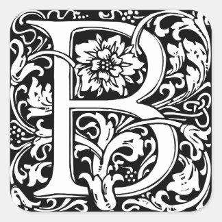 Elegant Vintage Floral Letter B Monogram Square Sticker