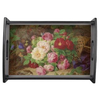 Elegant Vintage Floral Painting Art Tray