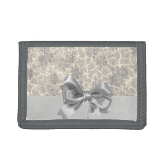 Elegant Vintage Floral Pattern-Gray Bow Trifold Wallets