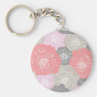 Elegant Vintage Floral Pattern in Pink Keychain